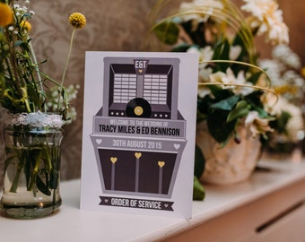 Wedding Order Of Service Booklet/ Program - Vintage Jukebox/ Vinyl Record Design x 25