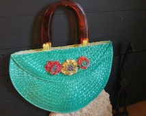 Straw Handbag, Turquoise faux straw, upcycled zipper flowers, summer purse