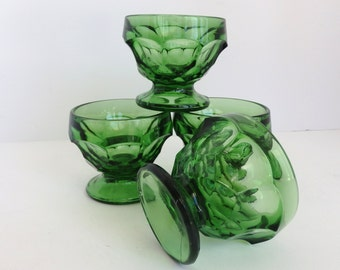 Set of 4 Green Glass Sherbets. Mid Century Glassware