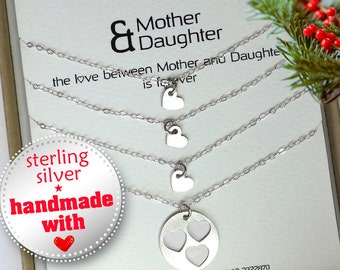 Mother Daughter, Christmas gift for mom, Mother 3 daughters necklace set, Mother daughter jewelry