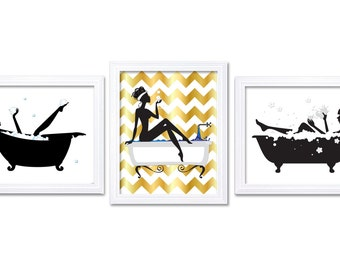 Bathroom Wall Decor Bathroom Print Black White Gold Wall Art Bathtub Tub  Set Of 3 Art