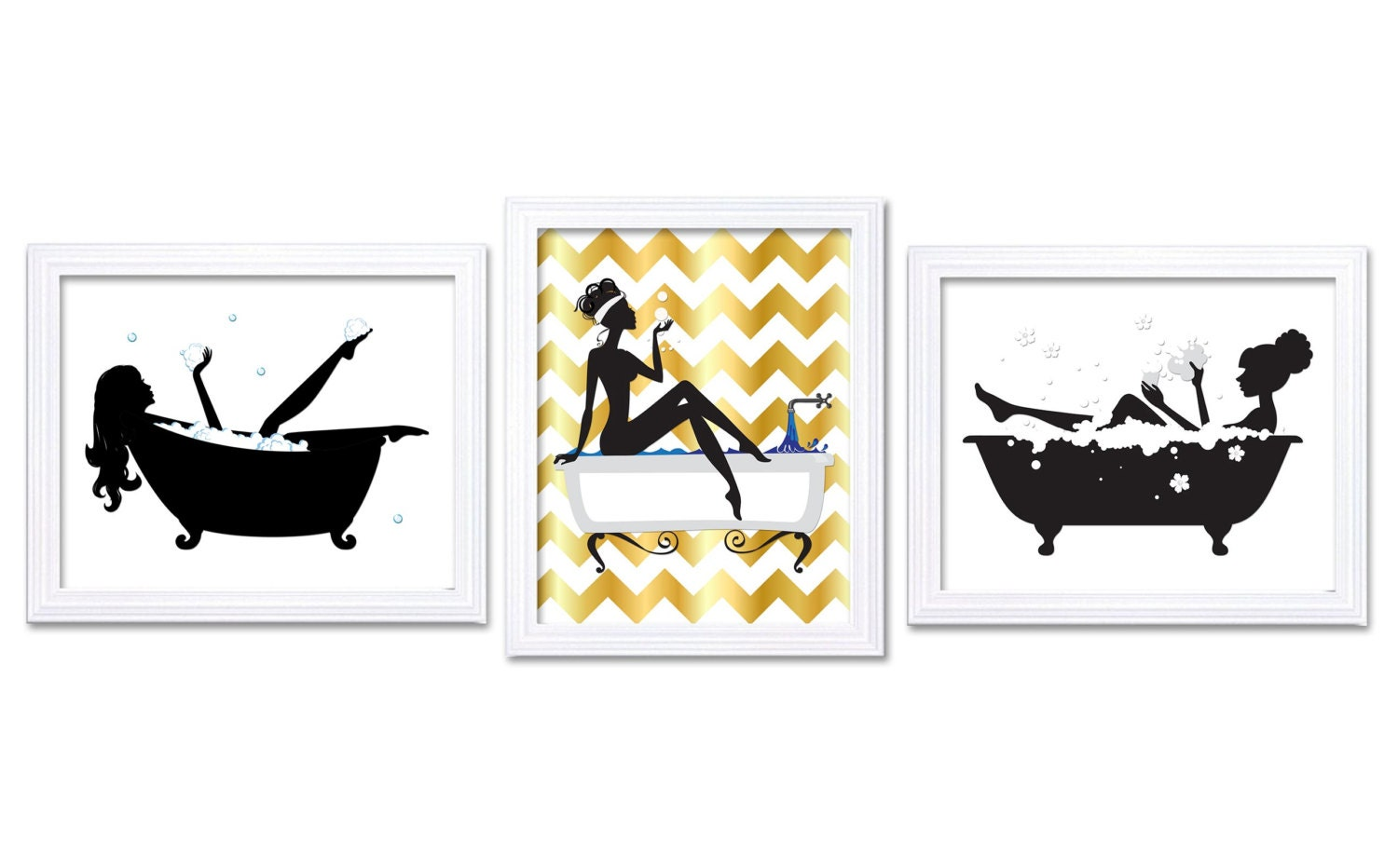 bathroom wall decor bathroom print black white gold wall art