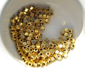 20 Gold Cube Spacer Beads - 3mm