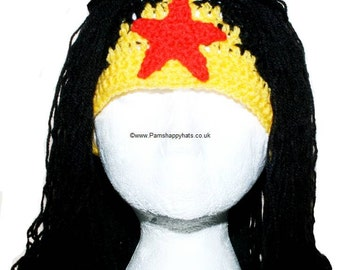 Hand Crocheted Wonder Woman Hat