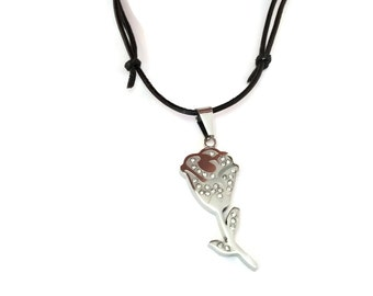 PURE rose stainless steel pendant necklace