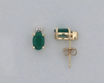 Natural Emerald with Natural Diamond Stud Earrings Solid 14kt Yellow Gold