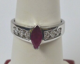 Natural Ruby Diamond Ring 925 Sterling Silver