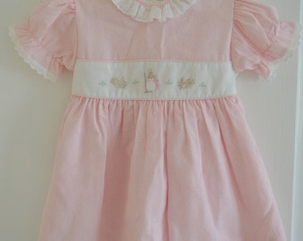 Vintage Beatrix Potter Orignal Flopsy Bunnies Pink Dress Size 24 Months