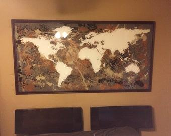 World map painting 48x72 huge framed