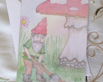Gnome Home Grower ~ Fairy Doodle Blank Greeting Card