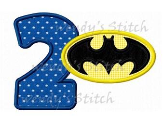 Batman applique number 2 machine embroidery design instant download