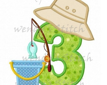 Fishing applique birthday number 3 machine embroidery design digital pattern instant download