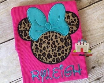 Minnie Mouse Cheetah with turquoise bow on a Hot Pink Tank. Inspired by Disney Animal Kingdom