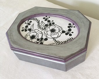 Metallic Silver and Violet Jewelry Box