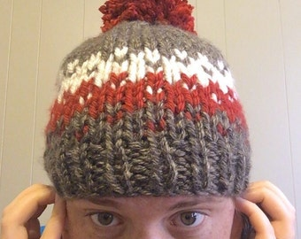 SALE. Ready to ship. Adult fair isle winter hat. Knit-brown-red-cream-beanie.