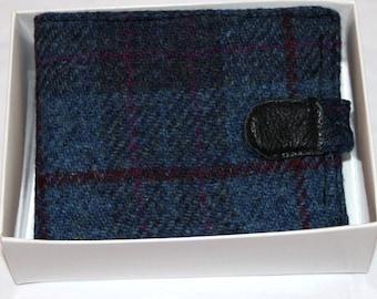 Harris Tweed wallet, dark blue check, for him, credit cards, bill fold