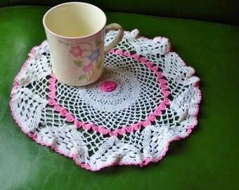 Crochet Doilie Vintage Doilie Pink and White Doilie