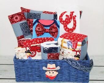 Cowboy Baby Gift Basket- Baby Shower Basket- 11Piece Set