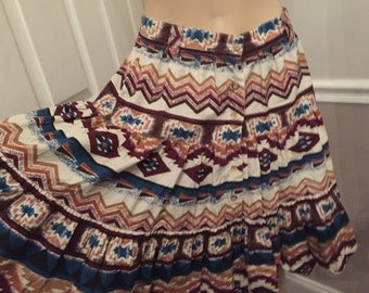 Vintage Adobe Rose button front Aztec print cotton skirt / size Medium