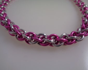 Pink and Silver Chainmail Necklace, Jens Pind Chainmaille Necklace, Chain Maille Necklace, Chain Mail Necklace