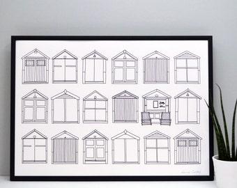 Beach Huts Print - Brighton print - home decor - gifts for home - illustrative print - coastal print - sea side print