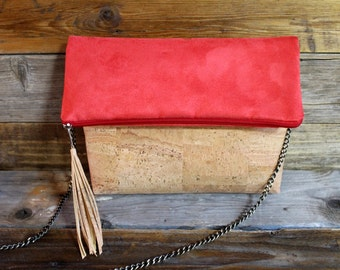 cork foldover clutch