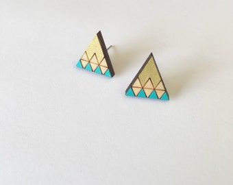 Unique triangle earrings related items Etsy