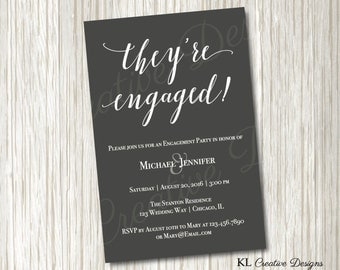 Modern Grey and White Engagement Party Invite, Printable Invitation, Digital File