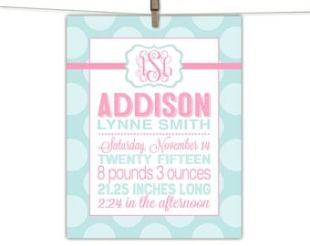 Personalized baby girl gift - nursery wall art keepsake - mint and pink nursery baby girl - monogram birth stats - personalized art print