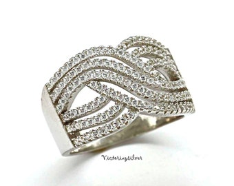 925 Sterling Silver Pave Ring,Silver Pave Band,