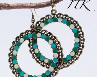 Beautiful antique bronze earrings with green/blue shades