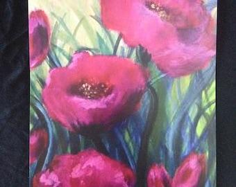 Pink poppies print