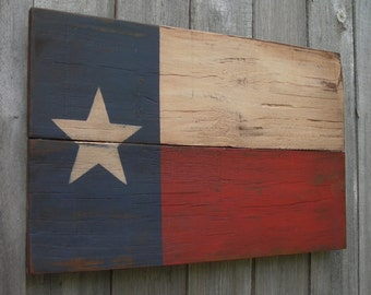 Rustic  Wooden Texas Flag, 11 X 18 inches. Made from recycled wood. C
