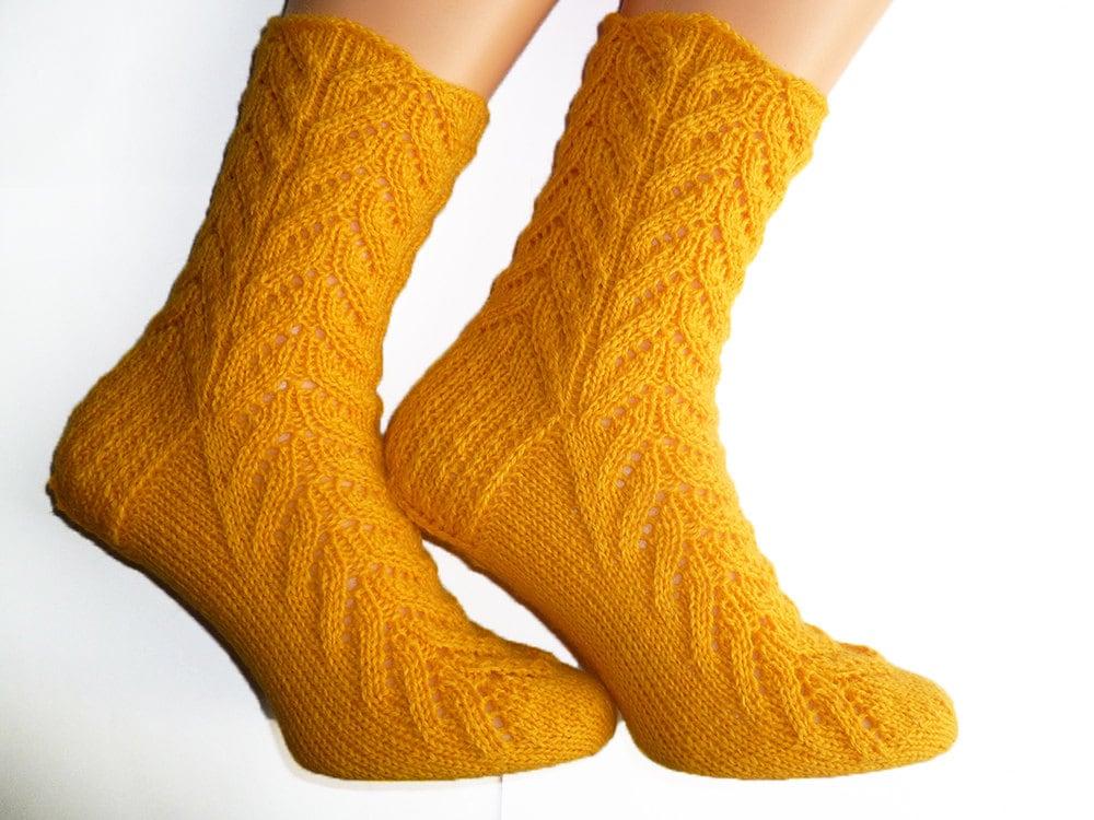Knit Womens Wool Socks Lace Yellow Socks Warm Socks