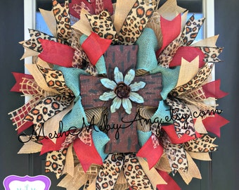 Red rustic cross wreath, All season wreath with leopard and cross, Deco mesh wreath