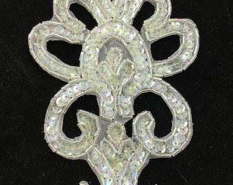 "Designer Motif Appliqué with Iridescent Sequins and Beads, 6"" x 4""  -9632-1169"