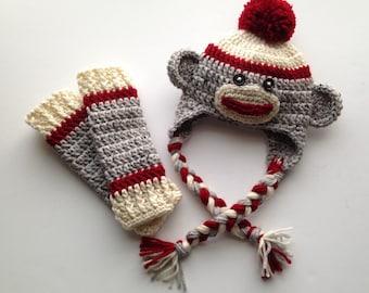 Crochet Sock Monkey Hat and Baby Legs, Newborn Sock Monkey Hat Set, Newborn Photo Prop, Crochet Baby Legs, Sock Monkey Hat