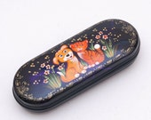 Glasses case with a cat and dog, hand-painted eyeglass carrying case Free Shipping plus free gift!