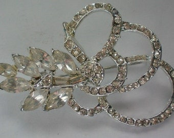 Bow Knot Clear Rhinestone Brooch - 4574
