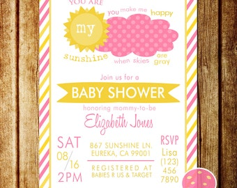 You Are My Sunshine Baby Shower Invitation, Pink and Yellow, Customized Invite, you make me happy when skies are gray, Baby girl