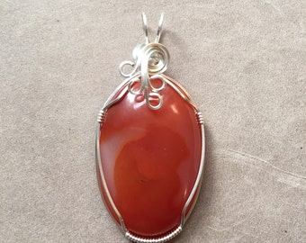 Carnelian Sterling Silver Wire Wrapped Pendant