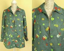 Vintage 60s 70s Hippie Jacket | Flower Power | Bohemian Jacket | Zip Up Jacket | Green Jacket | Womens Jackets | Floral Jacket. Size M