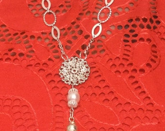 Silver Tassel Layer Necklace with Swarovski Pearl and Filigree Necklace