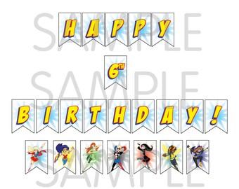 DC Superhero Girls Birthday Banner! Personalized! YOU PRINT!