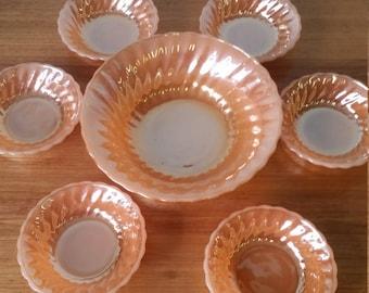 Vintage retro bowls Anchor hocking oven proof lustureware