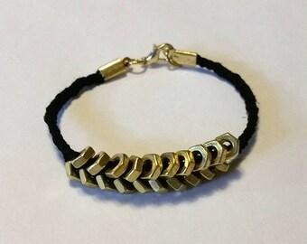 Braided Hemp Bracelet with Brass Hex Nuts in Chevron Design