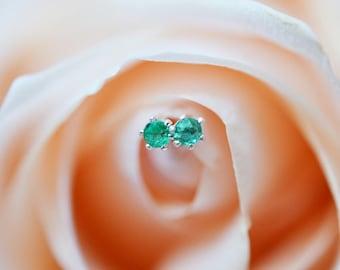 Untreated Natural Brazilian Emerald Stud Earrings, Emerald Earrings, Recycled Sterling Silver Stud Earrings,2mm Studs,May Birthstone,Emerald