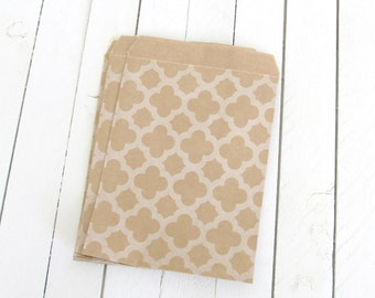 "50 - 4 x 5 3/8"" Geometric Print Kraft Merchandise Bags, Brown Paper Bags, Favor Bags"