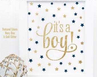 Its A Boy Sign, Twinkle Twinkle Little Star Baby Boy Shower Decorations, Welcome Sign,  Navy Blue Gold Glitter Printable 8x10 It's A Boy