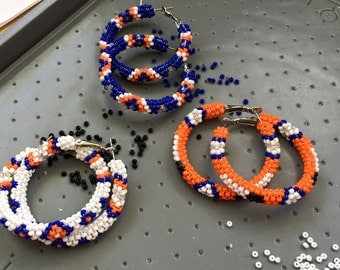 Native American style Broncos colors beaded hoops